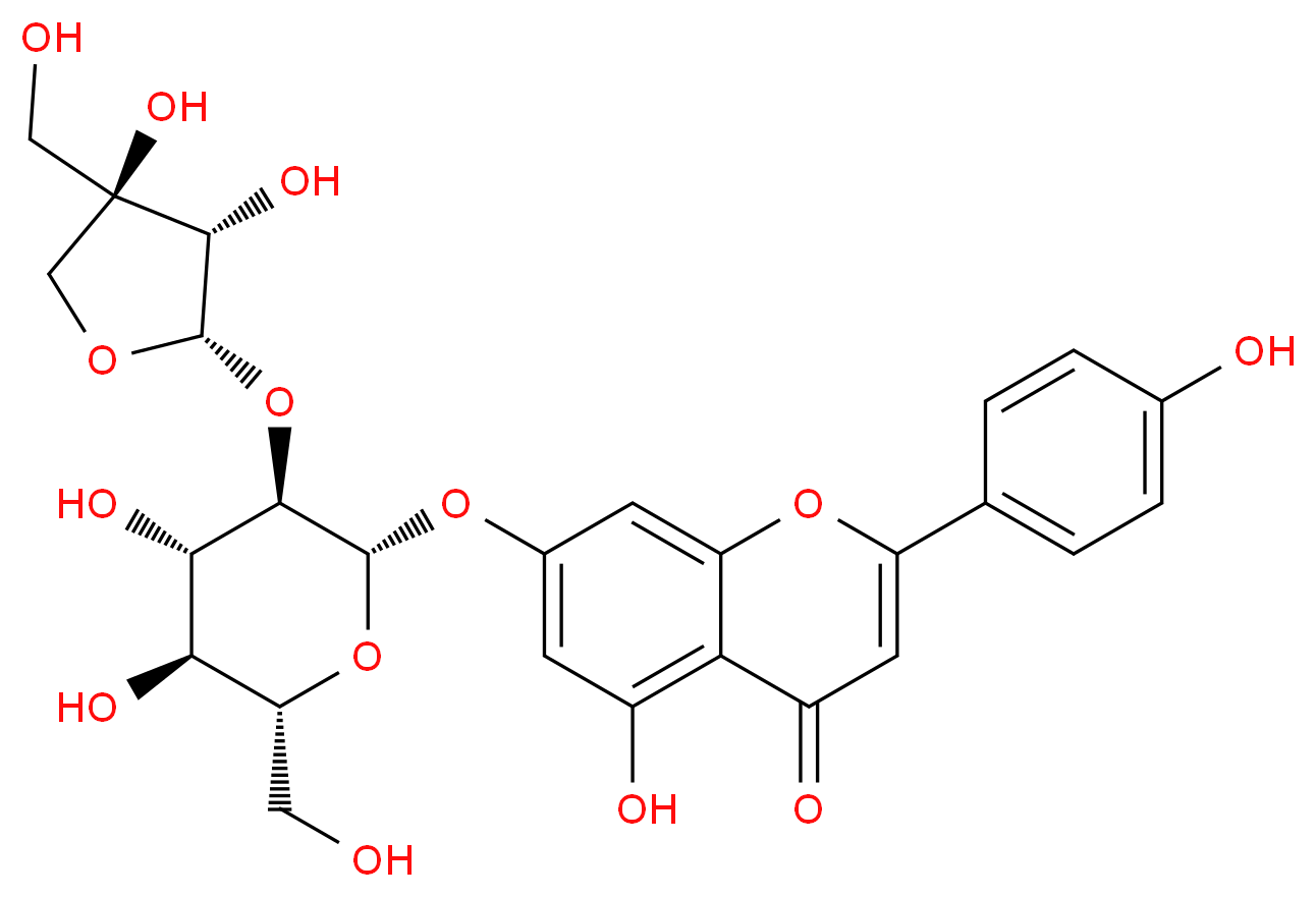 7-{[(2S,3R,4S,5S,6R)-3-{[(2S,3S,4R)-3,4-dihydroxy-4-(hydroxymethyl)oxolan-2-yl]oxy}-4,5-dihydroxy-6-(hydroxymethyl)oxan-2-yl]oxy}-5-hydroxy-2-(4-hydroxyphenyl)-4H-chromen-4-one_分子结构_CAS_26544-34-3