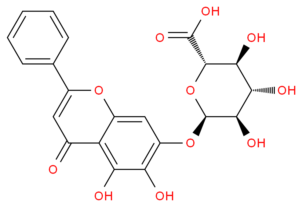 (2S,3S,4S,5R,6R)-6-[(5,6-dihydroxy-4-oxo-2-phenyl-4H-chromen-7-yl)oxy]-3,4,5-trihydroxyoxane-2-carboxylic acid_分子结构_CAS_21967-41-9