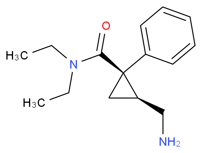 (1R,2S)-2-(aminomethyl)-N,N-diethyl-1-phenylcyclopropane-1-carboxamide_分子结构_CAS_92623-85-3
