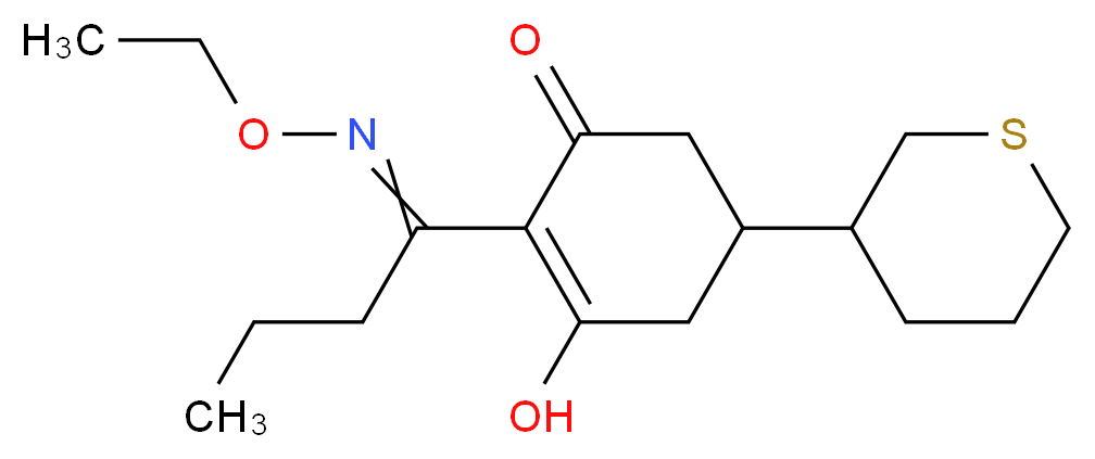 2-[1-(ethoxyimino)butyl]-3-hydroxy-5-(thian-3-yl)cyclohex-2-en-1-one_分子结构_CAS_101205-02-1