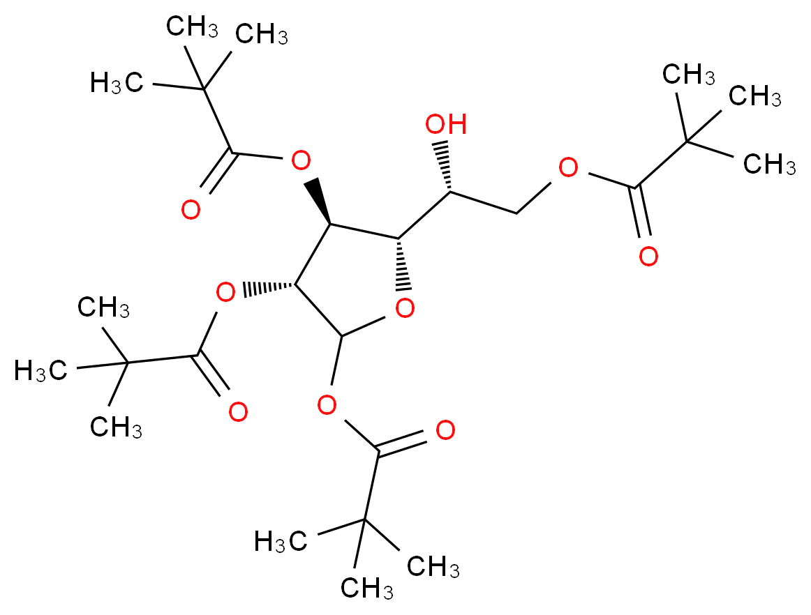 (2S)-2-hydroxy-2-[(2S,3S,4R)-3,4,5-tris[(2,2-dimethylpropanoyl)oxy]oxolan-2-yl]ethyl 2,2-dimethylpropanoate_分子结构_CAS_220017-49-2