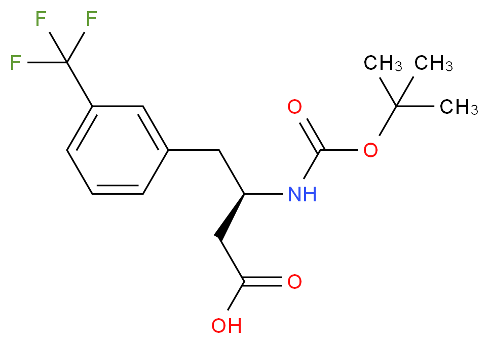 (3R)-3-{[(tert-butoxy)carbonyl]amino}-4-[3-(trifluoromethyl)phenyl]butanoic acid_分子结构_CAS_269726-74-1