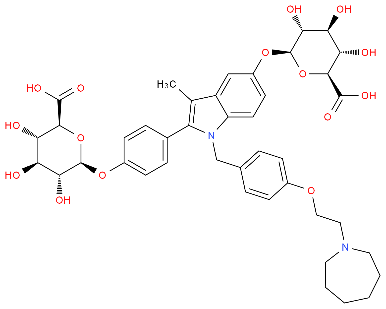 (2S,3S,4S,5R,6S)-6-{4-[1-({4-[2-(azepan-1-yl)ethoxy]phenyl}methyl)-5-{[(2S,3R,4S,5S,6S)-6-carboxy-3,4,5-trihydroxyoxan-2-yl]oxy}-3-methyl-1H-indol-2-yl]phenoxy}-3,4,5-trihydroxyoxane-2-carboxylic acid_分子结构_CAS_328933-67-1