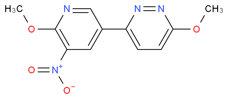 3-methoxy-6-(6-methoxy-5-nitropyridin-3-yl)pyridazine_分子结构_CAS_1346808-76-1