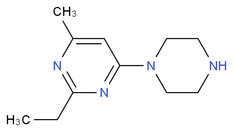 2-Ethyl-4-methyl-6-piperazin-1-yl-pyrimidine_分子结构_CAS_883540-07-6)