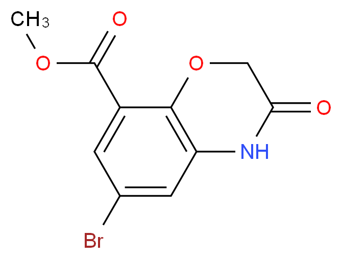 methyl 6-bromo-3-oxo-3,4-dihydro-2H-1,4-benzoxazine-8-carboxylate_分子结构_CAS_141761-85-5
