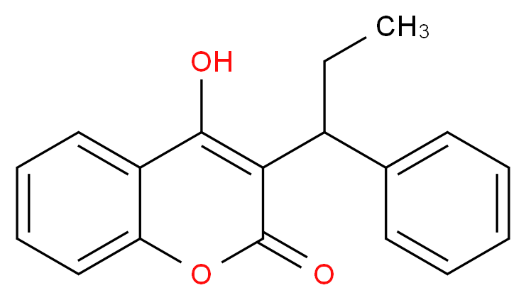 4-hydroxy-3-(1-phenylpropyl)-2H-chromen-2-one_分子结构_CAS_435-97-2
