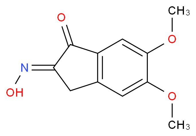 (2E)-2-(hydroxyimino)-5,6-dimethoxy-2,3-dihydro-1H-inden-1-one_分子结构_CAS_2107-85-9