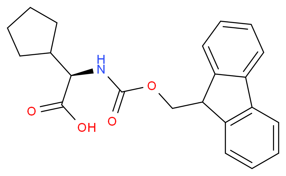 (R)-2-((((9H-Fluoren-9-yl)Methoxy)carbonyl)aMino)-2-cyclopentylacetic acid_分子结构_CAS_136555-16-3)
