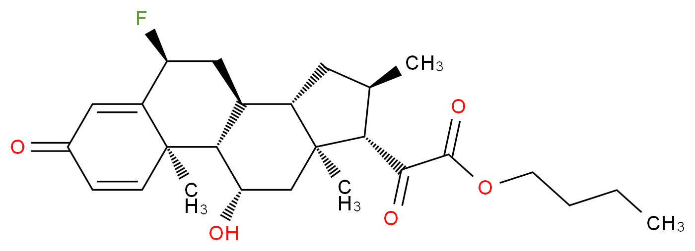 butyl 2-[(1S,2R,8S,10S,11S,13R,14S,15S,17S)-8-fluoro-17-hydroxy-2,13,15-trimethyl-5-oxotetracyclo[8.7.0.0<sup>2</sup>,<sup>7</sup>.0<sup>1</sup><sup>1</sup>,<sup>1</sup><sup>5</sup>]heptadeca-3,6-dien-14-yl]-2-oxoacetate_分子结构_CAS_41767-29-7