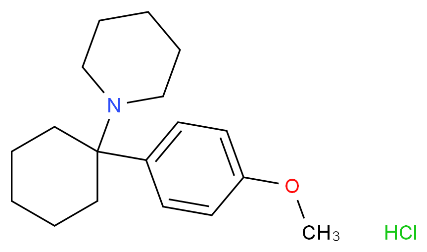 1-[1-(4-methoxyphenyl)cyclohexyl]piperidine hydrochloride_分子结构_CAS_2185-93-5