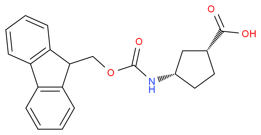(1R,3S)-3-{[(9H-fluoren-9-ylmethoxy)carbonyl]amino}cyclopentane-1-carboxylic acid_分子结构_CAS_220497-67-6