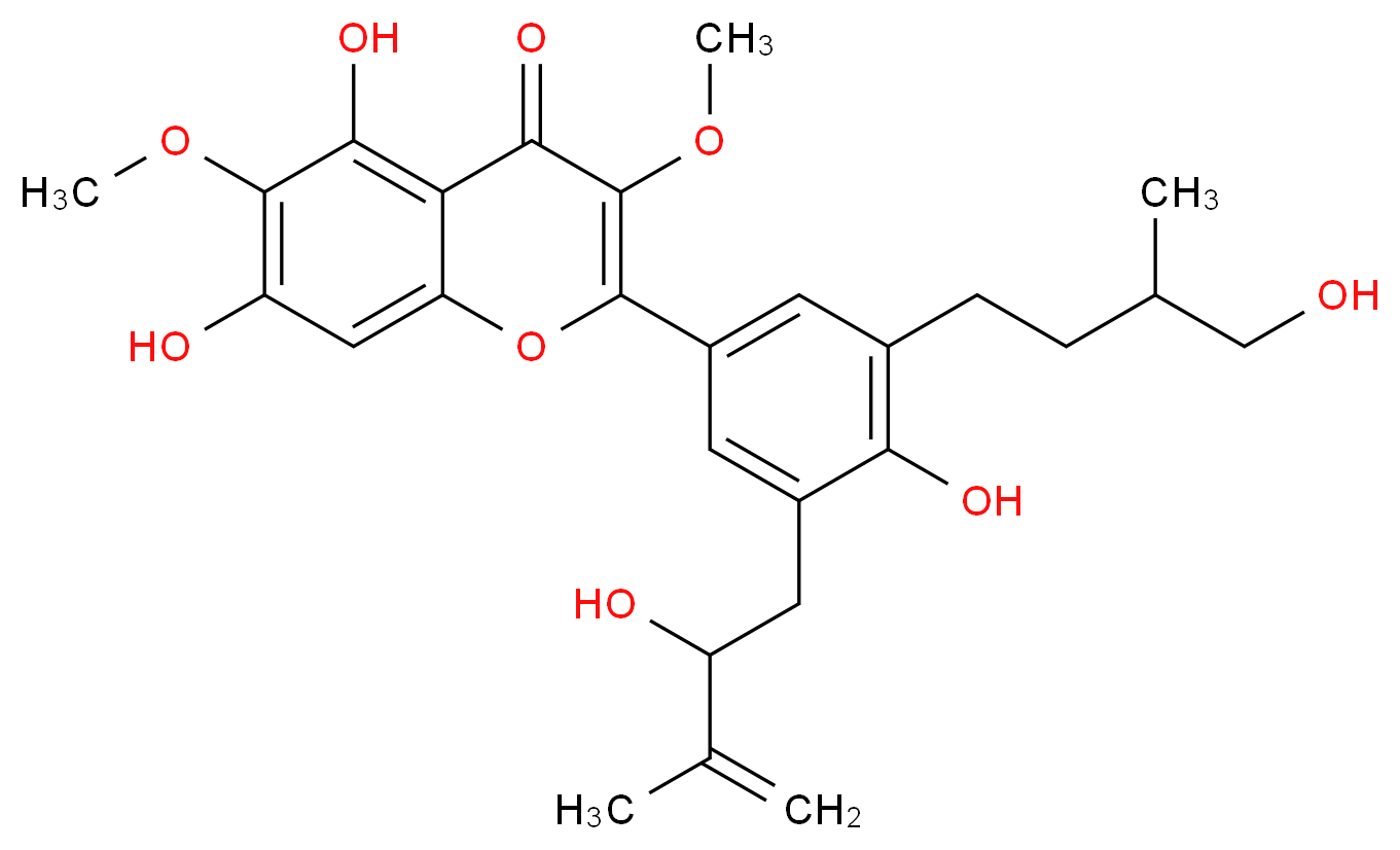 5,7-dihydroxy-2-[4-hydroxy-3-(2-hydroxy-3-methylbut-3-en-1-yl)-5-(4-hydroxy-3-methylbutyl)phenyl]-3,6-dimethoxy-4H-chromen-4-one_分子结构_CAS_1372527-25-7