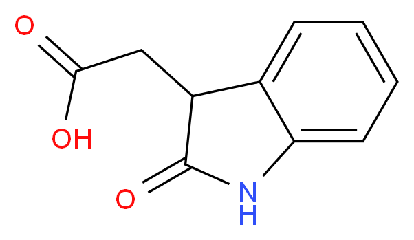 2-(2-oxo-2,3-dihydro-1H-indol-3-yl)acetic acid_分子结构_CAS_2971-31-5