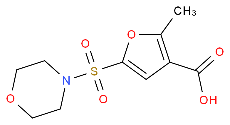 2-methyl-5-(morpholine-4-sulfonyl)furan-3-carboxylic acid_分子结构_CAS_306936-37-8
