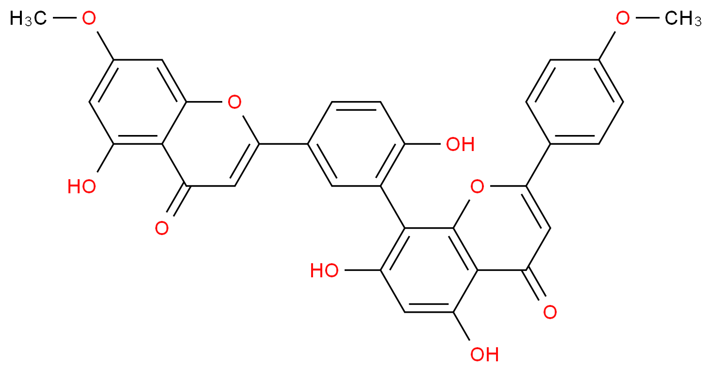 5,7-dihydroxy-8-[2-hydroxy-5-(5-hydroxy-7-methoxy-4-oxo-4H-chromen-2-yl)phenyl]-2-(4-methoxyphenyl)-4H-chromen-4-one_分子结构_CAS_23624-21-7