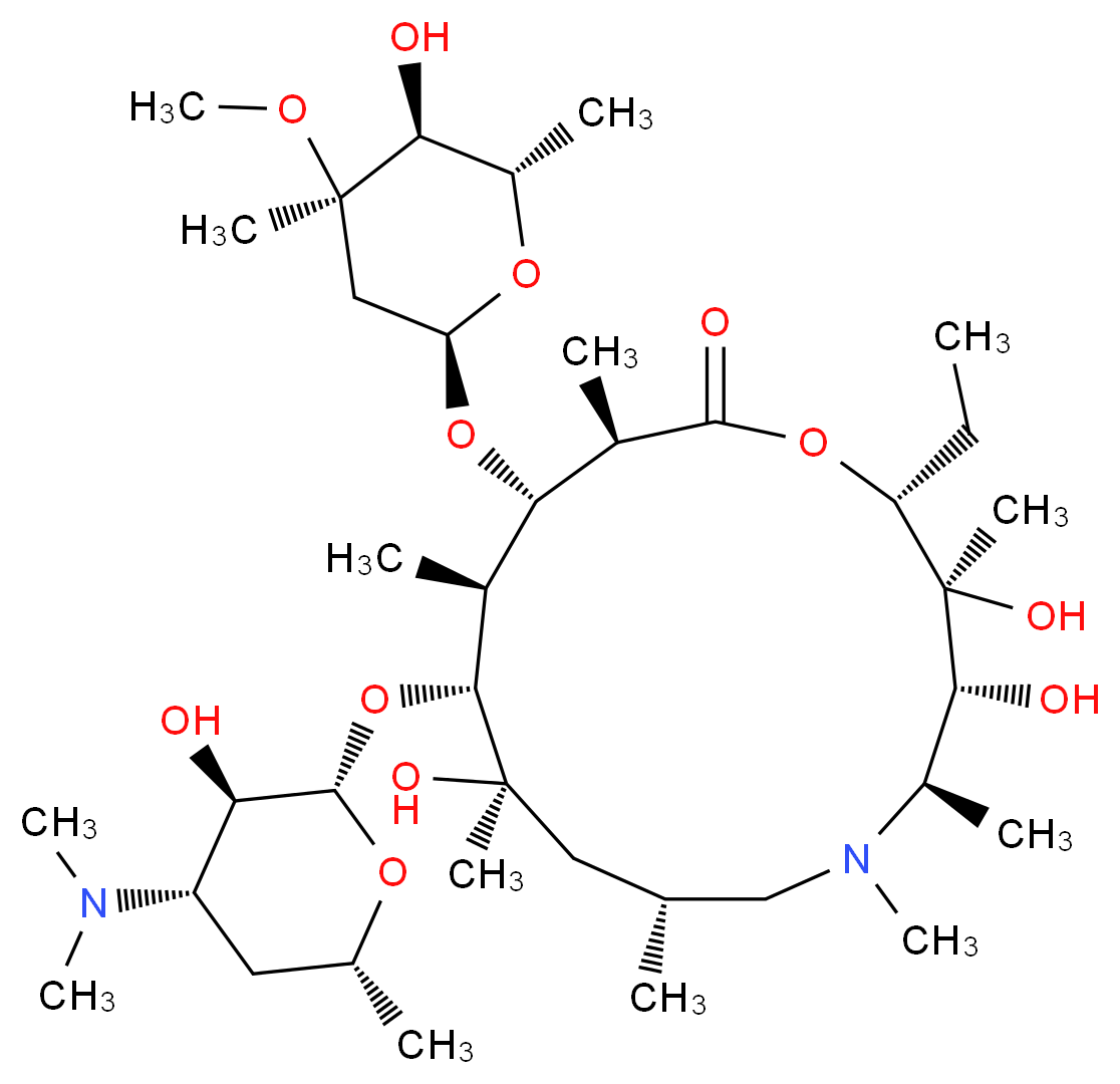 (2R,3S,4R,5R,8R,10R,11R,12S,13S,14R)-11-{[(2S,3R,4S,6R)-4-(dimethylamino)-3-hydroxy-6-methyloxan-2-yl]oxy}-2-ethyl-3,4,10-trihydroxy-13-{[(2R,4R,5S,6S)-5-hydroxy-4-methoxy-4,6-dimethyloxan-2-yl]oxy}-3,5,6,8,10,12,14-heptamethyl-1-oxa-6-azacyclopentadecan-15-one_分子结构_CAS_83905-01-5