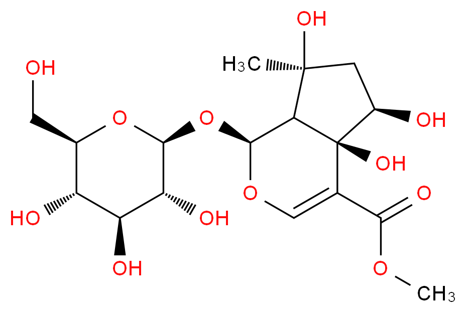 methyl (1S,4aR,5R,7S,7aR)-4a,5,7-trihydroxy-7-methyl-1-{[(2S,3R,4S,5S,6R)-3,4,5-trihydroxy-6-(hydroxymethyl)oxan-2-yl]oxy}-1H,4aH,5H,6H,7H,7aH-cyclopenta[c]pyran-4-carboxylate_分子结构_CAS_87797-84-0