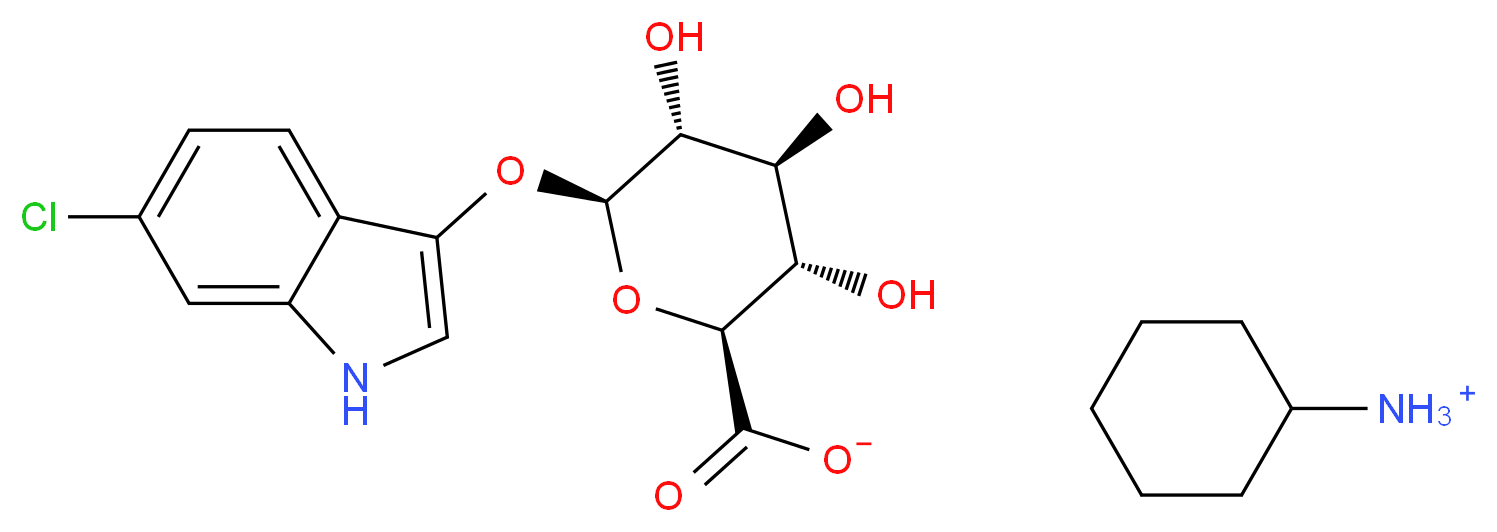 cyclohexanaminium (2S,3S,4S,5R,6S)-6-[(6-chloro-1H-indol-3-yl)oxy]-3,4,5-trihydroxyoxane-2-carboxylate_分子结构_CAS_138182-20-4