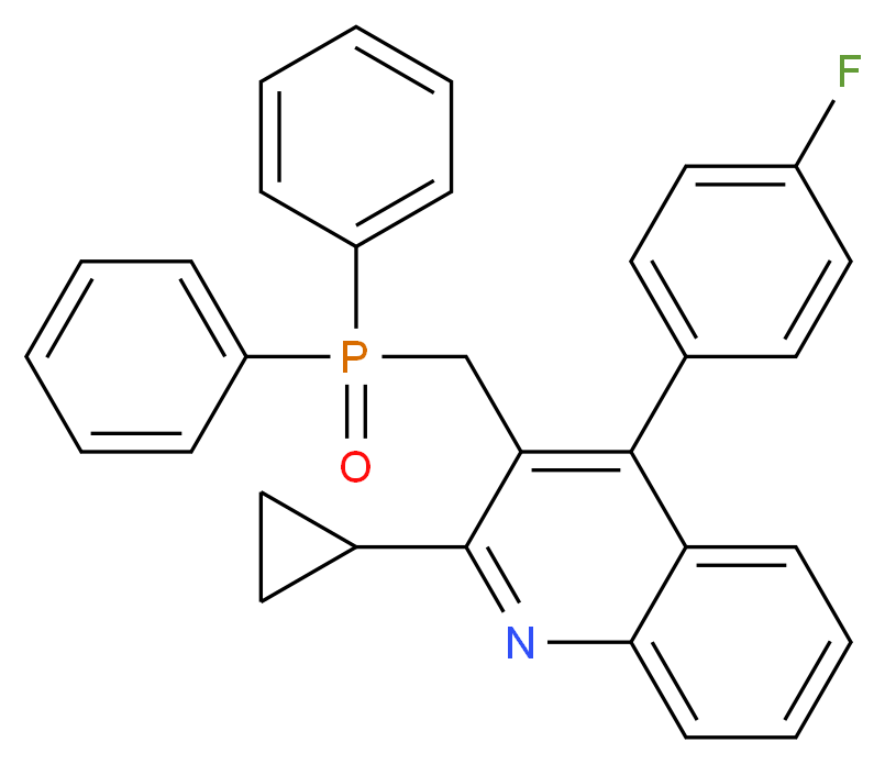 2-cyclopropyl-3-[(diphenylphosphoroso)methyl]-4-(4-fluorophenyl)quinoline_分子结构_CAS_146578-99-6
