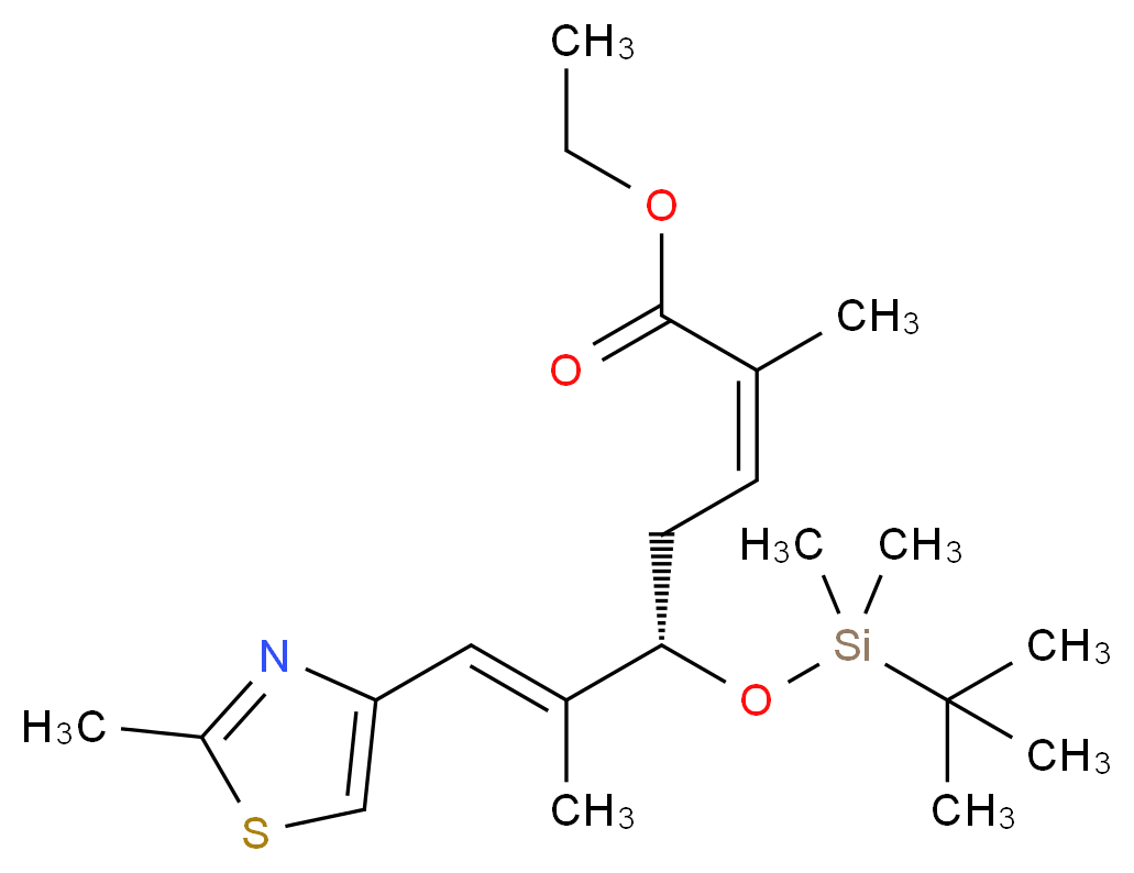 ethyl (2Z,5S,6E)-5-[(tert-butyldimethylsilyl)oxy]-2,6-dimethyl-7-(2-methyl-1,3-thiazol-4-yl)hepta-2,6-dienoate_分子结构_CAS_218614-04-1