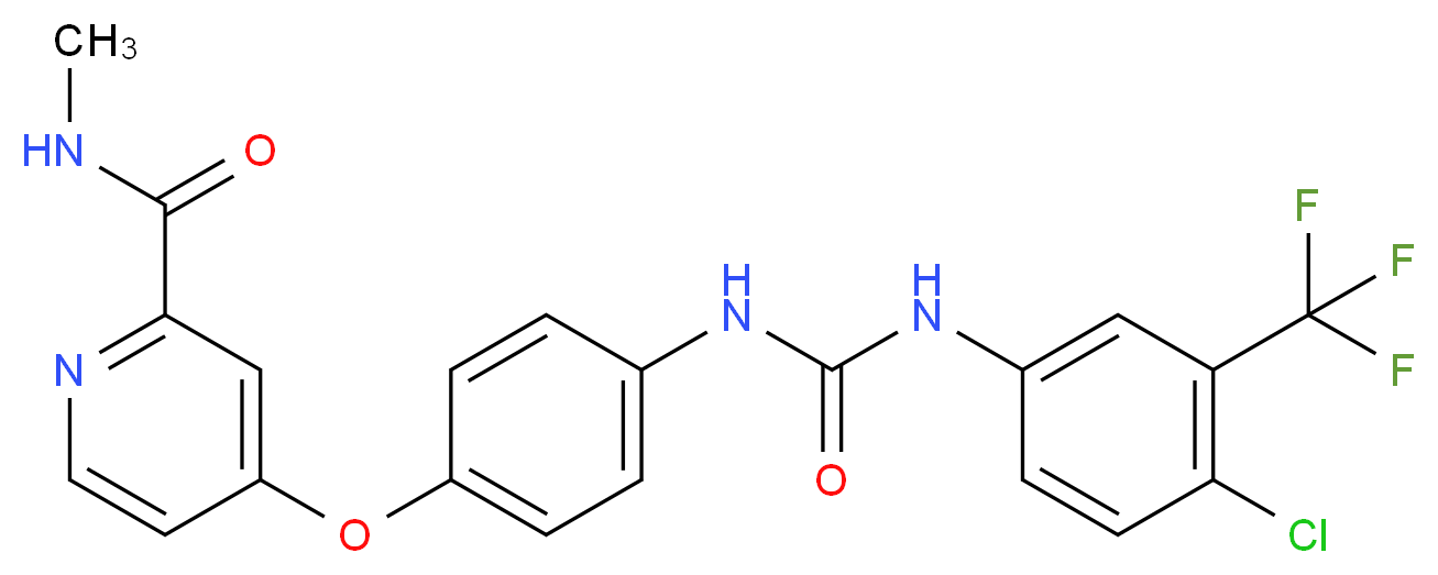 4-[4-({[4-chloro-3-(trifluoromethyl)phenyl]carbamoyl}amino)phenoxy]-N-methylpyridine-2-carboxamide_分子结构_CAS_4750207-59-1