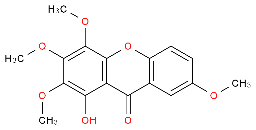 1-Hydroxy-2,3,4,7-tetramethoxyxanthone_分子结构_CAS_14103-09-4)