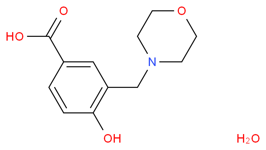4-hydroxy-3-(morpholin-4-ylmethyl)benzoic acid hydrate_分子结构_CAS_143269-99-2