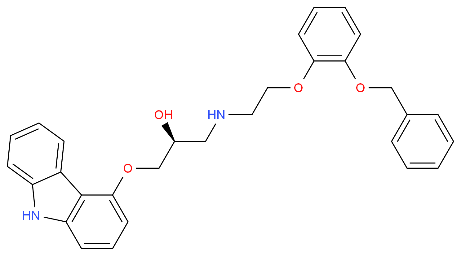 {2-[2-(benzyloxy)phenoxy]ethyl}[(2S)-3-(9H-carbazol-4-yloxy)-2-hydroxypropyl]amine_分子结构_CAS_1217640-12-4