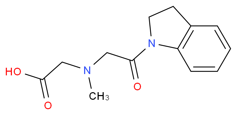 2-((2-(indolin-1-yl)-2-oxoethyl)(methyl)amino)acetic acid_分子结构_CAS_)