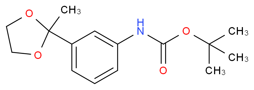 tert-butyl N-[3-(2-methyl-1,3-dioxolan-2-yl)phenyl]carbamate_分子结构_CAS_886361-42-8