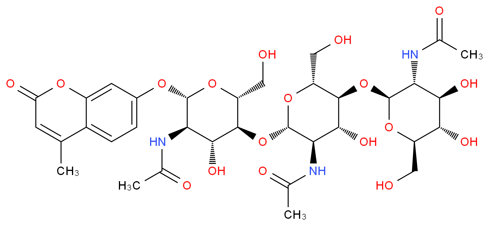N-[(2S,3R,4R,5S,6R)-5-{[(2S,3R,4R,5S,6R)-3-acetamido-5-{[(2S,3R,4R,5S,6R)-3-acetamido-4,5-dihydroxy-6-(hydroxymethyl)oxan-2-yl]oxy}-4-hydroxy-6-(hydroxymethyl)oxan-2-yl]oxy}-4-hydroxy-6-(hydroxymethyl)-2-[(4-methyl-2-oxo-2H-chromen-7-yl)oxy]oxan-3-yl]acetamide_分子结构_CAS_53643-13-3