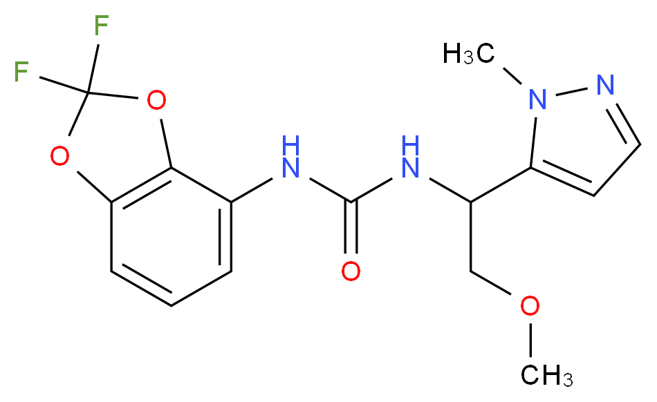 N-(2,2-difluoro-1,3-benzodioxol-4-yl)-N'-[2-methoxy-1-(1-methyl-1H-pyrazol-5-yl)ethyl]urea_分子结构_CAS_)