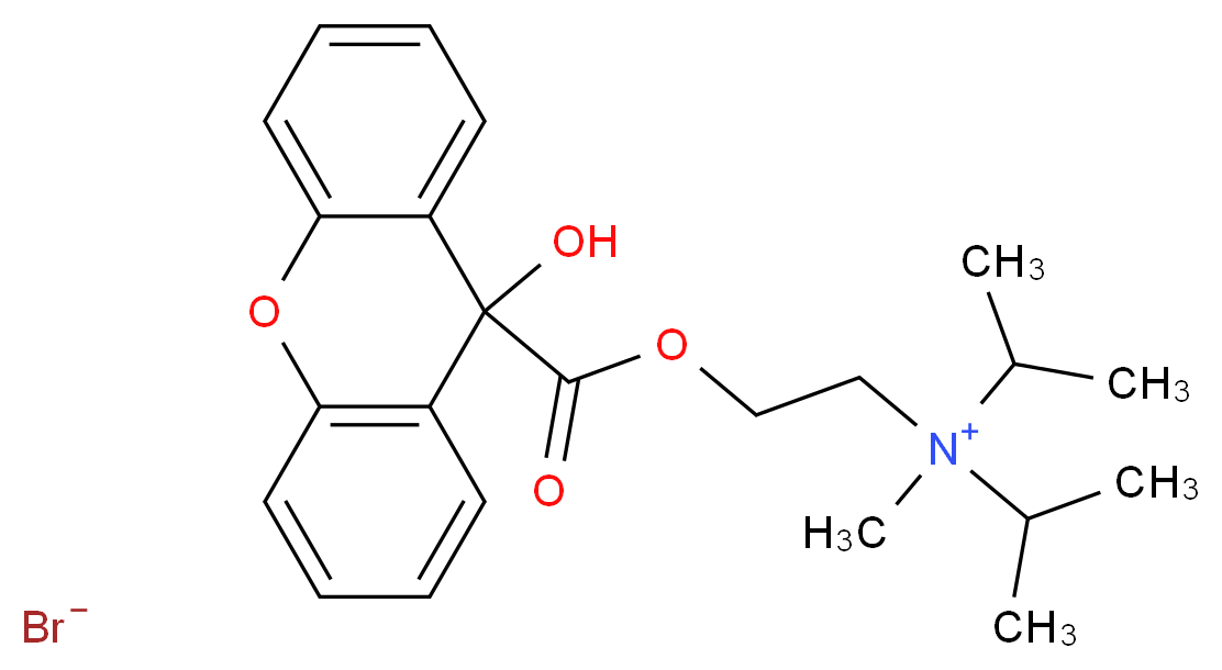 [2-(9-hydroxy-9H-xanthene-9-carbonyloxy)ethyl](methyl)bis(propan-2-yl)azanium bromide_分子结构_CAS_93446-02-7