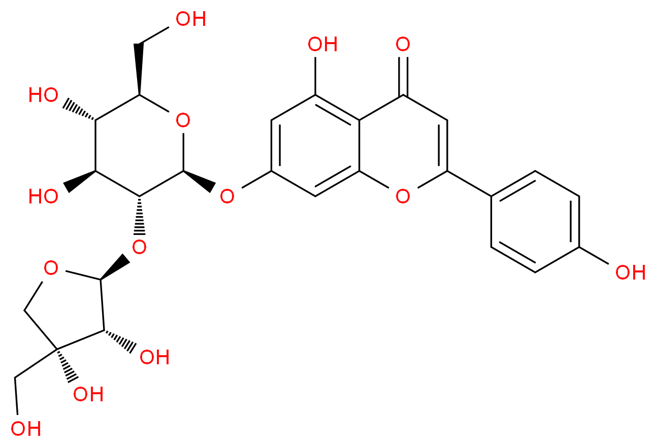 7-{[(2S,3R,4S,5S,6R)-3-{[(2S,3R,4R)-3,4-dihydroxy-4-(hydroxymethyl)oxolan-2-yl]oxy}-4,5-dihydroxy-6-(hydroxymethyl)oxan-2-yl]oxy}-5-hydroxy-2-(4-hydroxyphenyl)-4H-chromen-4-one_分子结构_CAS_26544-34-3
