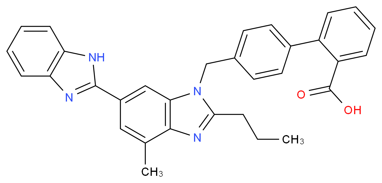 2-(4-{[6-(1H-1,3-benzodiazol-2-yl)-4-methyl-2-propyl-1H-1,3-benzodiazol-1-yl]methyl}phenyl)benzoic acid_分子结构_CAS_144701-81-5