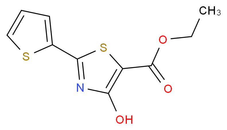ethyl 4-hydroxy-2-(thiophen-2-yl)-1,3-thiazole-5-carboxylate_分子结构_CAS_924869-00-1