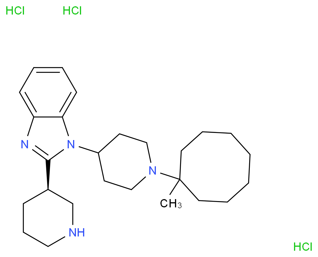 1-[1-(1-methylcyclooctyl)piperidin-4-yl]-2-[(3R)-piperidin-3-yl]-1H-1,3-benzodiazole trihydrochloride_分子结构_CAS_1028969-49-4
