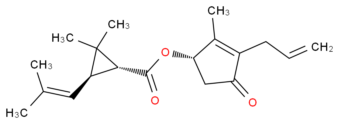 (1S)-2-methyl-4-oxo-3-(prop-2-en-1-yl)cyclopent-2-en-1-yl (1R,3R)-2,2-dimethyl-3-(2-methylprop-1-en-1-yl)cyclopropane-1-carboxylate_分子结构_CAS_28434-00-6