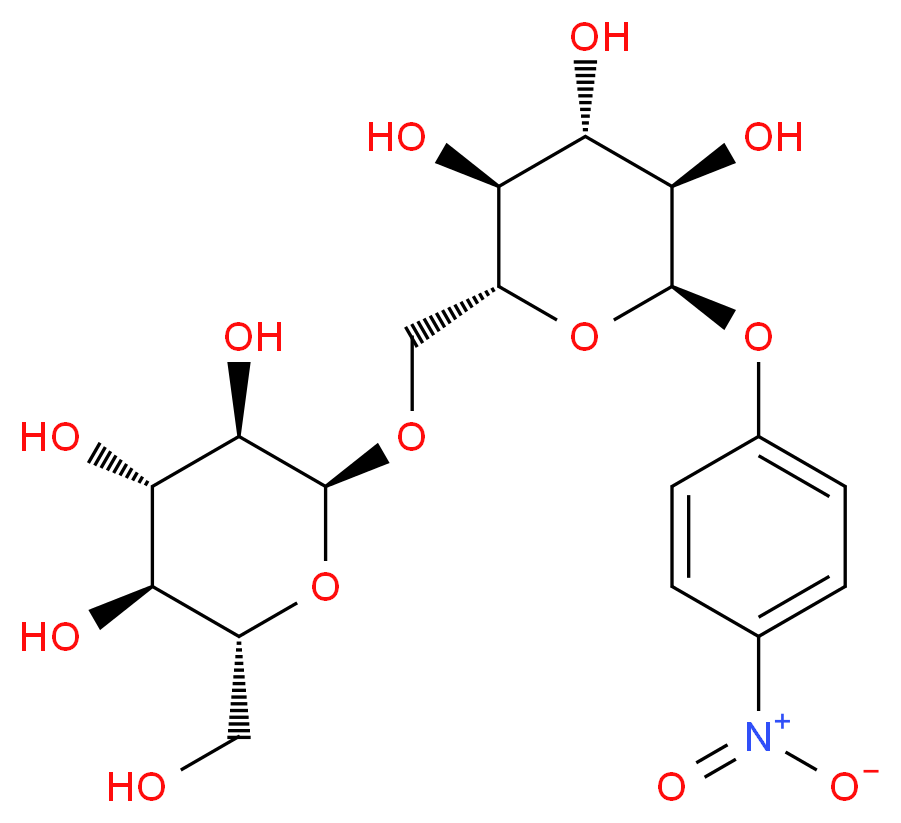 (2R,3S,4S,5R,6S)-2-(hydroxymethyl)-6-{[(2R,3S,4S,5R,6R)-3,4,5-trihydroxy-6-(4-nitrophenoxy)oxan-2-yl]methoxy}oxane-3,4,5-triol_分子结构_CAS_136734-56-0