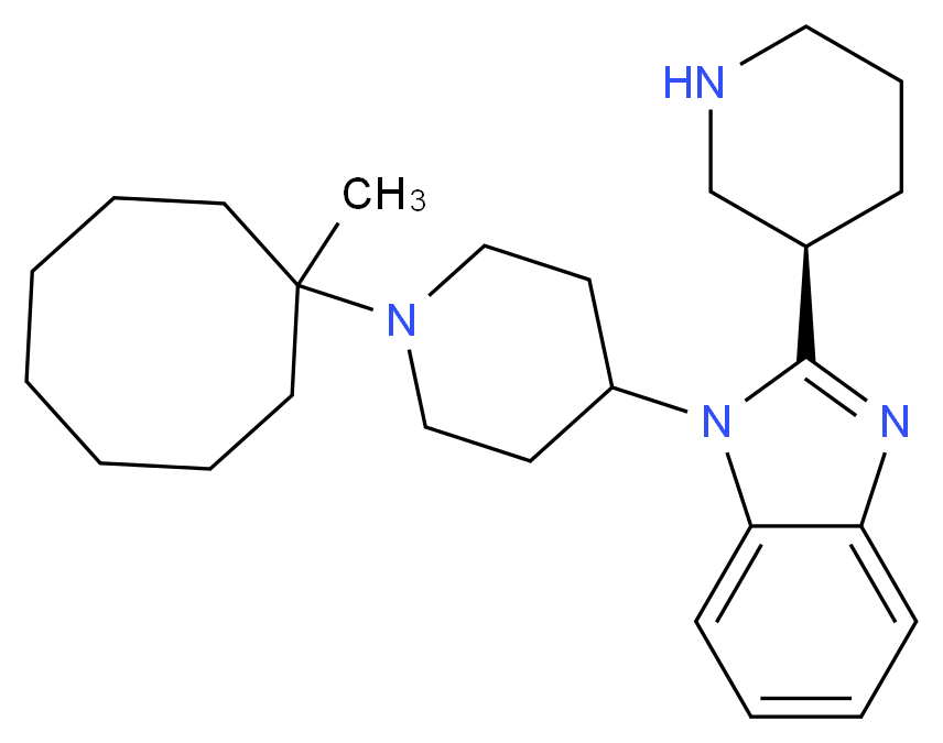 1-[1-(1-methylcyclooctyl)piperidin-4-yl]-2-[(3R)-piperidin-3-yl]-1H-1,3-benzodiazole_分子结构_CAS_1028969-49-4