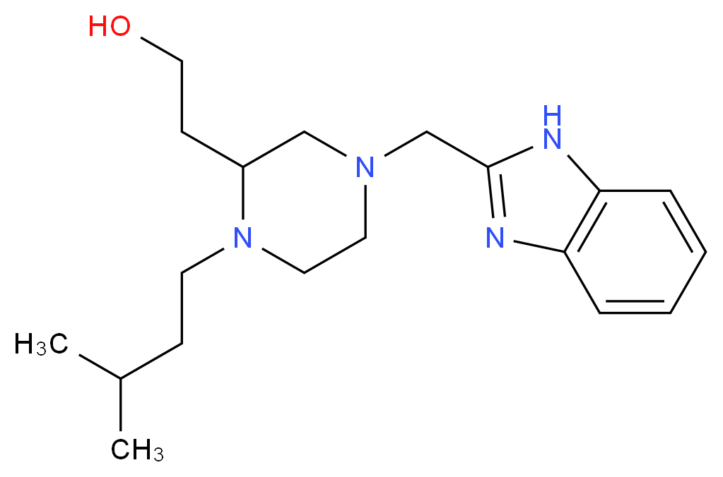 2-[4-(1H-benzimidazol-2-ylmethyl)-1-(3-methylbutyl)-2-piperazinyl]ethanol_分子结构_CAS_)