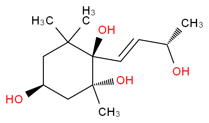 (1R,2R,4S)-1-[(1E,3S)-3-hydroxybut-1-en-1-yl]-2,6,6-trimethylcyclohexane-1,2,4-triol_分子结构_CAS_276870-26-9
