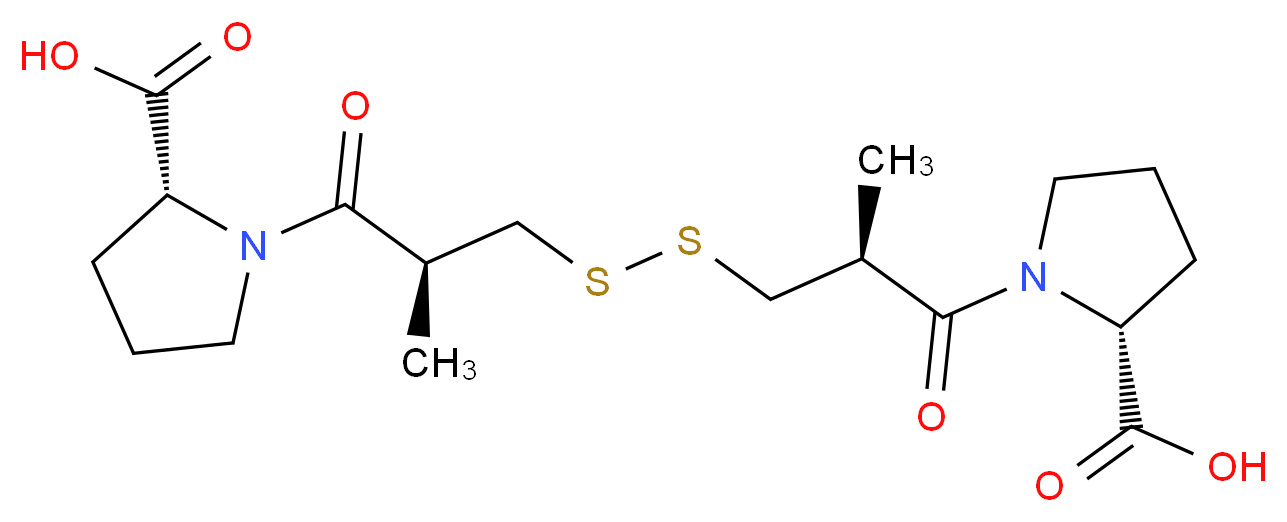 (2R)-1-[(2S)-3-{[(2S)-3-[(2R)-2-carboxypyrrolidin-1-yl]-2-methyl-3-oxopropyl]disulfanyl}-2-methylpropanoyl]pyrrolidine-2-carboxylic acid_分子结构_CAS_64806-05-9