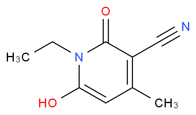 1-ethyl-6-hydroxy-4-methyl-2-oxo-1,2-dihydropyridine-3-carbonitrile_分子结构_CAS_28141-13-1