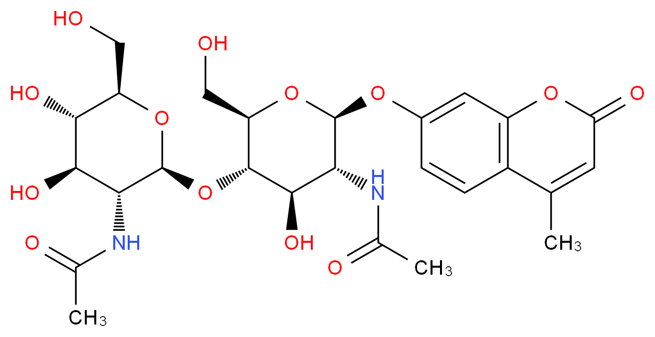 N-[(2S,3R,4R,5S,6R)-2-{[(2R,3S,4R,5R,6S)-5-acetamido-4-hydroxy-2-(hydroxymethyl)-6-[(4-methyl-2-oxo-2H-chromen-7-yl)oxy]oxan-3-yl]oxy}-4,5-dihydroxy-6-(hydroxymethyl)oxan-3-yl]acetamide_分子结构_CAS_53643-13-3