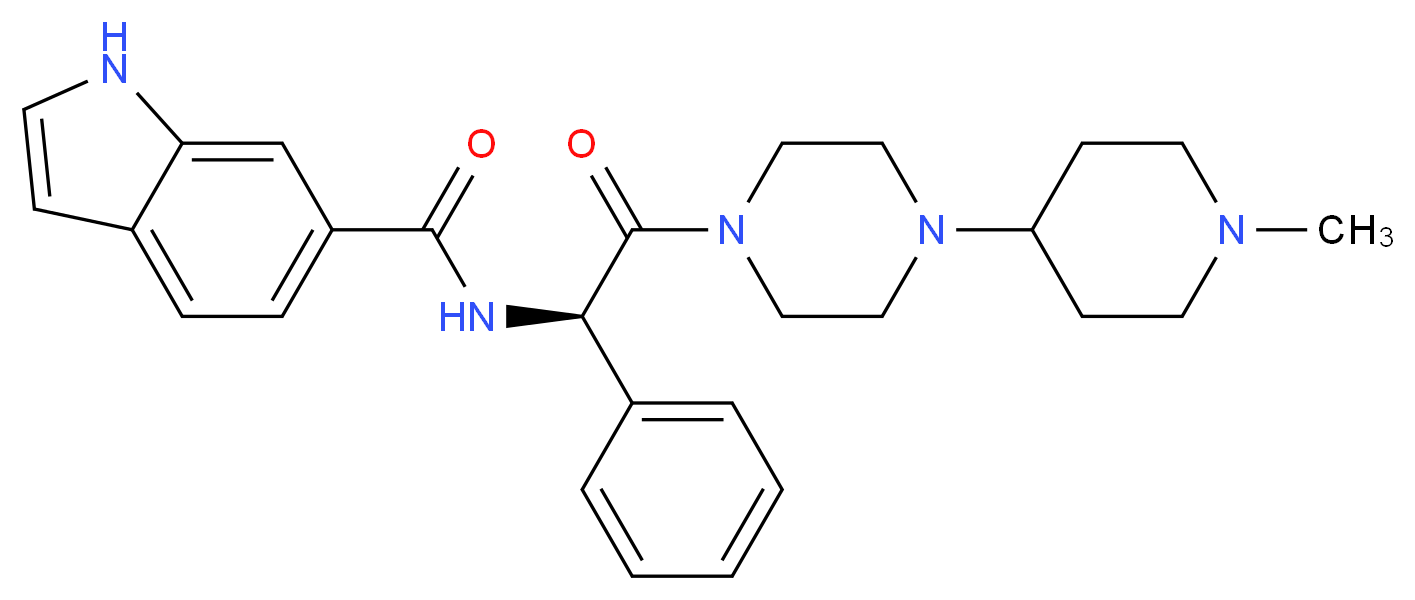 N-[(1R)-2-[4-(1-methylpiperidin-4-yl)piperazin-1-yl]-2-oxo-1-phenylethyl]-1H-indole-6-carboxamide_分子结构_CAS_313489-71-3