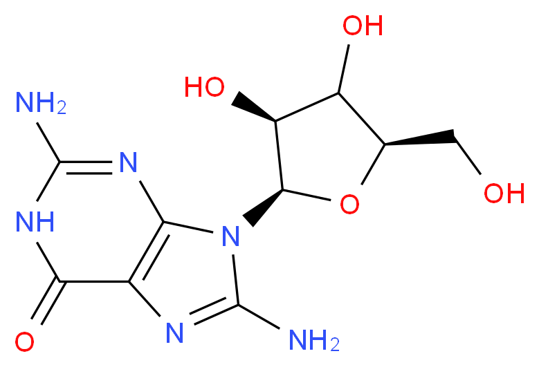 2,8-diamino-9-[(2R,3S,5R)-3,4-dihydroxy-5-(hydroxymethyl)oxolan-2-yl]-6,9-dihydro-1H-purin-6-one_分子结构_CAS_3868-32-4