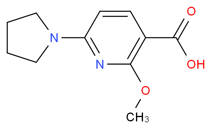 2-Methoxy-6-(pyrrolidin-1-yl)nicotinic acid_分子结构_CAS_1228665-72-2)