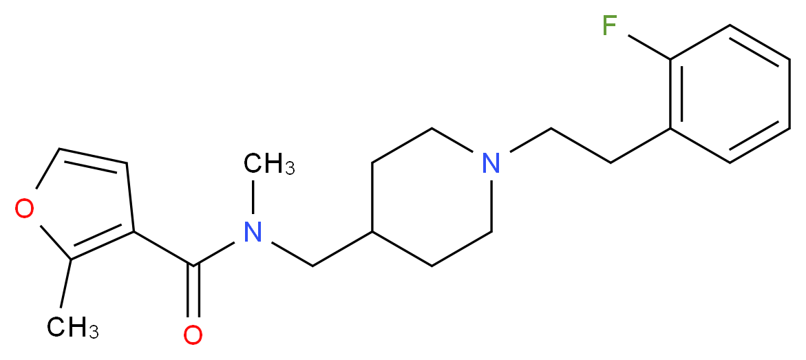 N-({1-[2-(2-fluorophenyl)ethyl]-4-piperidinyl}methyl)-N,2-dimethyl-3-furamide_分子结构_CAS_)